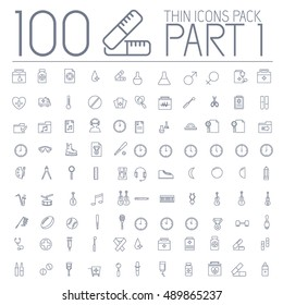 part 1 of set 100 thin line icons pictogram. For web and mobile. Medical, business, ofiice, sport, education, music, whether themes. Vector illustration design