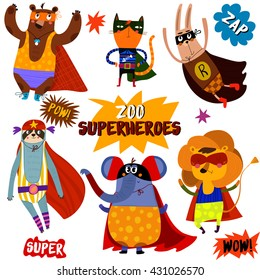 PART 1. Superhero animals. Awesome childish collection  in cartoon style with Comic Book Elements -stock vector