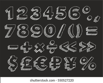 Part 3/3. Vector hand drawn chalk doodle with hatching isolated on black background numbers, brackets, mathematical and money signs: dollar, pound sterling, euro, ruble and the yen