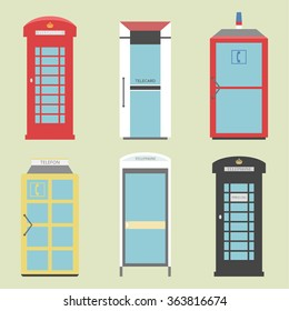 Part 4 of 4 / Telephone boxes from the whole world / different versions of Public call boxes / Set of 6  Boxes / Boxes from Europe / Telephone, Telephone box, Public telephone, telephone flat, phone