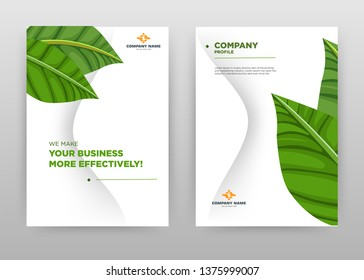 Part of big grean leaf business brochure flyer design. Multipurpose abstract brochure template cover. Green leaves leaflet vector design. Annual report presentation. Vertical A4 size. EPS