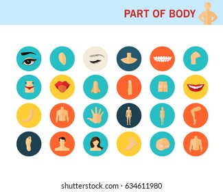 Part of body concept flat icons.