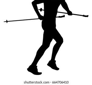 part of body man runner skyrunner with poles running