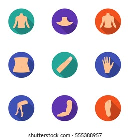 Part of body set icons in flat style. Big collection of part of body vector symbol stock illustration
