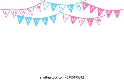 Part decorating concept with pastel pennants hanging above. Vector illustration with copy space for your text. Greeting or Party invitation with carnival flag garlands.