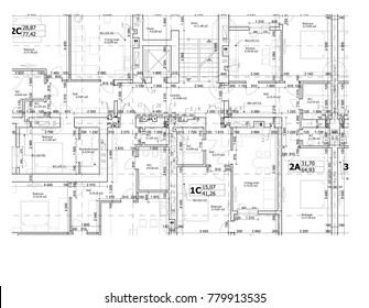 Part of a detailed architectural plan, floor plan, layout, blueprint. Vector illustration