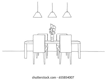 Part of the dining room. Table and chairs.On the table vase of flowers.  Lamps hang over the table. Hand drawn sketch.Vector illustration.