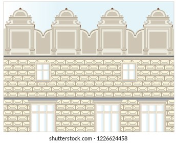 Part of the facade of a significant palace in a significant city of Early Baroque style with distinctive decorative elements, a large atic and distinctive, plastic façade.