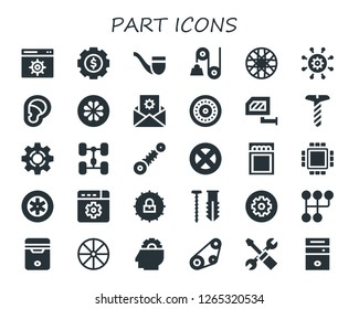part icon set. 30 filled part icons. Simple modern icons about  - Settings, Pipe, Pulley, Spoke wheel, Ear, Wheel, Rearview mirror, Screw, Setting, Chassis, Suspension, Match