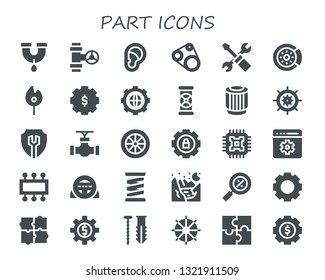 part icon set. 30 filled part icons.  Simple modern icons about  - Pipe, Ear, Timing belt, Settings, Brake disc, Match, Pipes, Pulley, Wheel, Cpu, Setting, Steering wheel, Spring