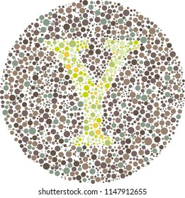 Part of my English alphabet collection of eye test designs. The Letter Y cunningly hid inside an Ishihara inspired design.  Check out my portfolio to find the rest of the alphabet.