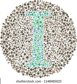 Part of my English alphabet collection of eye test designs. The Letter I cunningly hid inside an Ishihara inspired design.