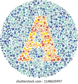 Part of my English alphabet collection of eye test designs. The Letter A cunningly hid inside an Ishihara inspired design.