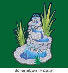 Part from Set of outdoors fountain for gardening, spring and summer plants around garden waterfall, autumn back yard decorative stone statue vector illustration
