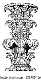 Part of Shaft Foliated, it, foliated, Italy, marble, museum, Roman, state-candelabrum, vintage line drawing or engraving illustration.