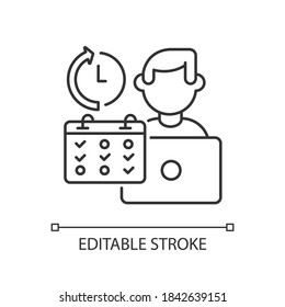 Part time job linear icon. Shift work, flexible schedule thin line customizable illustration. Contour symbol. Office worker with calendar vector isolated outline drawing. Editable stroke