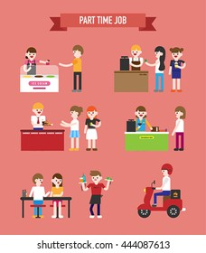 part time job people vector illustration