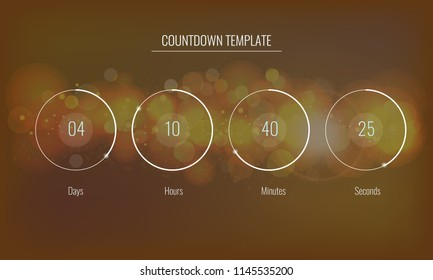 Part of the User interface Clock countdown template for application, Vector UI elements. Design of countdown timer for coming soon or under construction action.