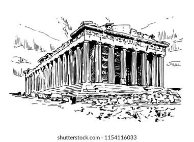 Parthenon In Athens Vector Sketch Illustration