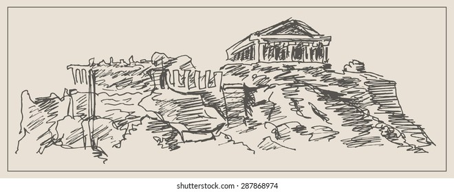 Parthenon in Greece Athens  , in engraving etching sketch hand drawing style, for greek history, travel landmark and  ancient art design