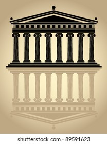 Parthenon stylized vector icon.