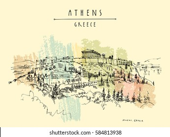 Parthenon temple and the Acropolis hill in Athens, Greece. Hand drawing in retro style. Travel sketch. Vintage touristic postcard, poster, calendar or book illustration in vector