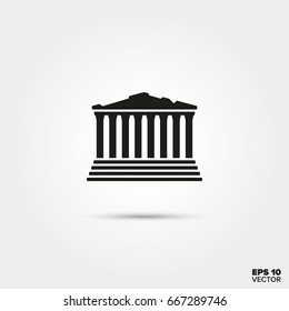 Parthenon Temple ruins, Acropolis, Athens, Greece. EPS 10 Vector icon.