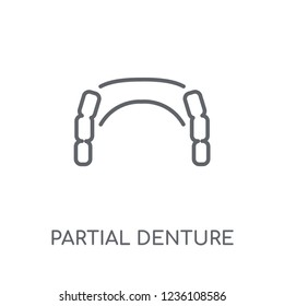 Partial Denture linear icon. Modern outline Partial Denture logo concept on white background from Dentist collection. Suitable for use on web apps, mobile apps and print media.