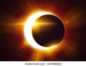 Partial Solar Eclipse. Natural Astronomical Phenomenon. Shadow of the Moon and Aura of Solar Corona. Realistic Effect with Gold Light and Sun Rays.