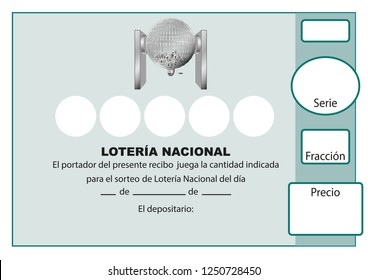 Participacion Loteria Nacional. Spanish national lottery tenth. Participacion, decimo. Vector illustration