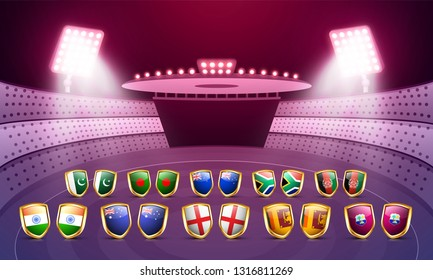 Participants country flag shields illustration on night stadium view background, poster or banner design for Cricket tournament.