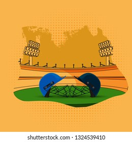 Participants cricket attire helmet illustration on stadium background in flat style for cricket tournament template or poster design.