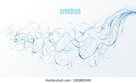 Particle flow array colorful vector abstract background, life forms bio theme microscopic design, dynamic dots elements in motion.