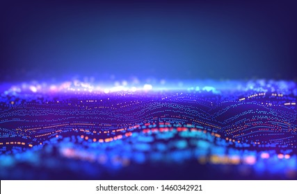 Particle grid abstract technology background. Data waves surface. Virtual lines