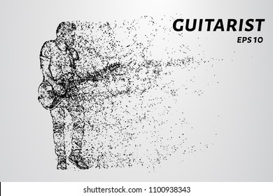Particle guitarist. The guitarist plays the electric guitar.