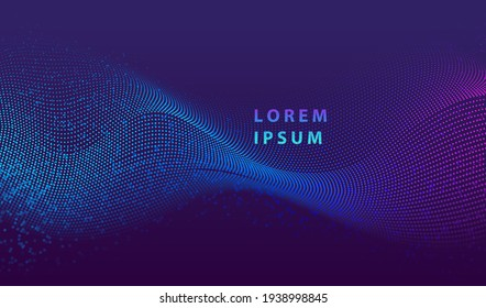 Particle liquid dots glowing abstract background. Neon explosion splash surface shapes design. Modern cyber light data technology and science vector.