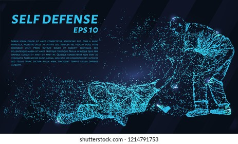 Particle self-defense. Assault on a man with a knife