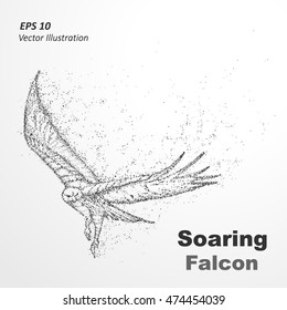Particle silhouette of Soaring Falcon. The layout of a flying eagle made of dots -stock vector illustration.