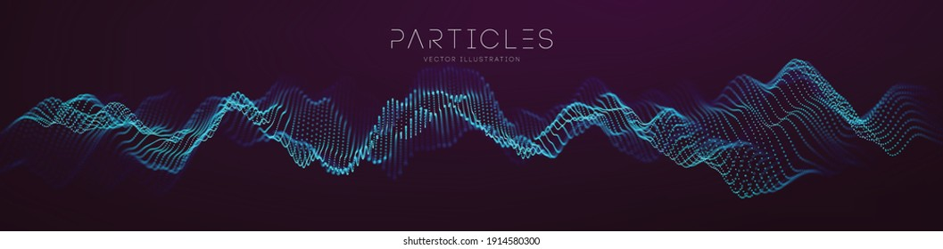 Particle wave music abstract tech background. Vector sound wave technology background. Equalizer for music, showing audio waves with music waves. EPS 10.