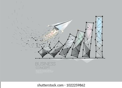 The particles, geometric art, line and dot of business graph. abstract vector illustration.  graphic design concept of business growth - line stroke weight editable