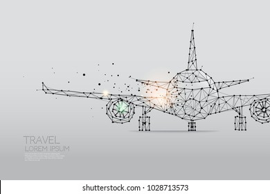 The particles, geometric art, line and dot of Airplane abstract vector illustration. graphic design concept of traveling - line stroke weight editable