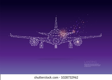 The particles, geometric art, line and dot of Airplaneabstract vector illustration. graphic design concept of traveling- line stroke weight editable