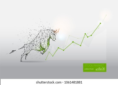 The particles, geometric art, line and dot of bull abstract vector illustration.  graphic design concept of stock market trend. - line stroke weight editable