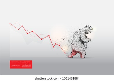 The particles, geometric art, line and dot of bear abstract vector illustration.  graphic design concept of stock market trend. - line stroke weight editable