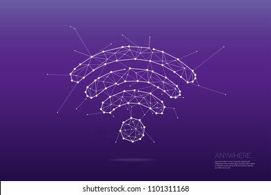 The particles, geometric art, line and dot of wireless symbol abstract vector illustration. graphic design concept of wifi connecting - line stroke weight editable