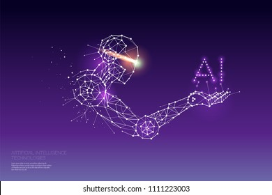 The particles, geometric art, line and dot of AI Technology. abstract vector illustration. graphic design concept of future. - line stroke weight editable
