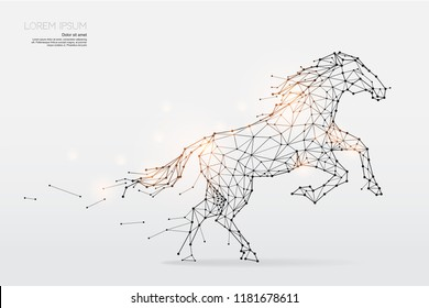 The particles, geometric art, line and dot of horse running  abstract vector illustration. graphic design concept of speed - line stroke weight editable