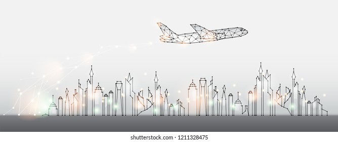 The particles, geometric art, line and dot of city with air plane. abstract vector illustration. graphic design concept of business and travel. - line stroke weight editable