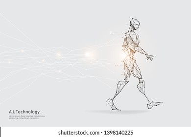 The particles, geometric art, line and dot of walking. abstract vector illustration. graphic design concept of future. - line stroke weight editable