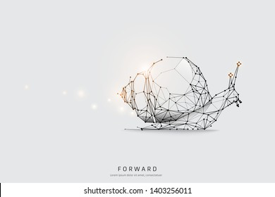 The particles, geometric art, line and dot of snail. abstract vector illustration. graphic design concept of moving. - line stroke weight editable